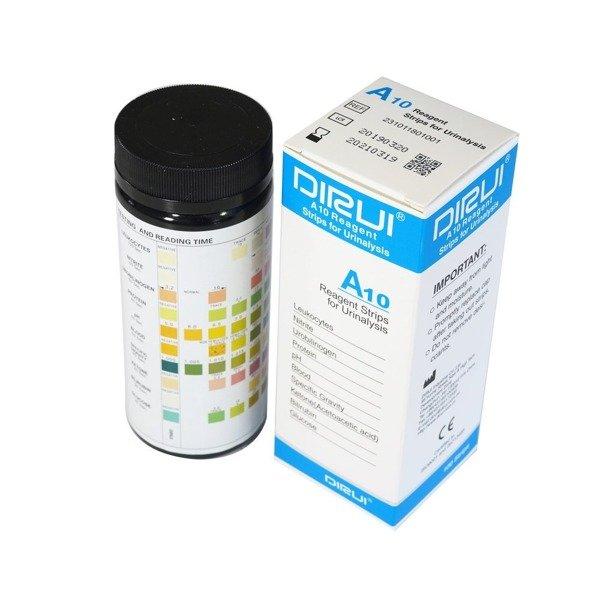 DIRUI A10 URINE STRIP - Paski (100 sztuk) do badania moczu - 10 parametrów: leukocyty, azotyny, urobilinogen, białko, pH, krew, ciężar właściwy, ketony (kwas acetylooctowy), bilirubina, glukoza.